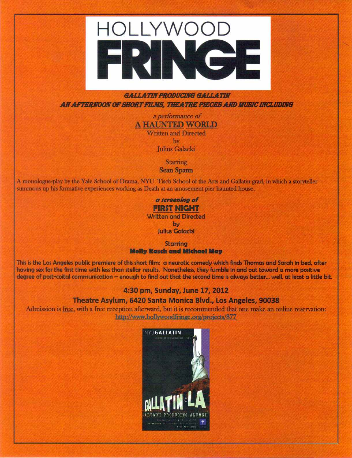 """""""A Haunted World"""" and """"First Night"""" flyer for the Hollywood Fringe Festival, 2012"""