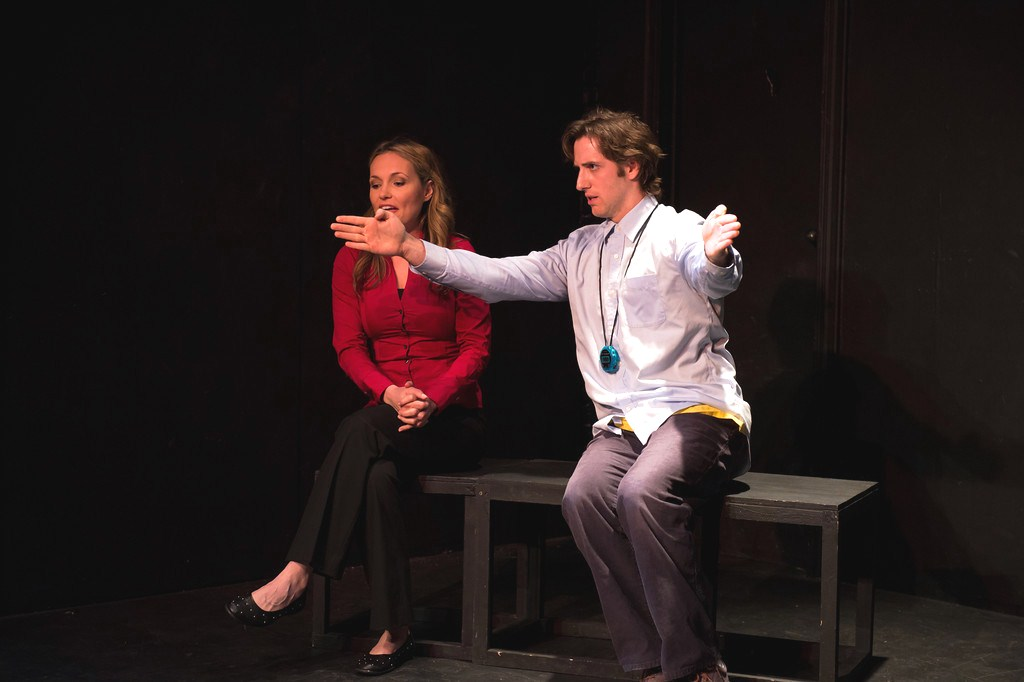 """Processing in the Park"" at the Hollywood Fringe Festival, June 2013.  Elliot (Adam Burch); ""A good spot..."" while Pam (Sarah McElligott) responds..."