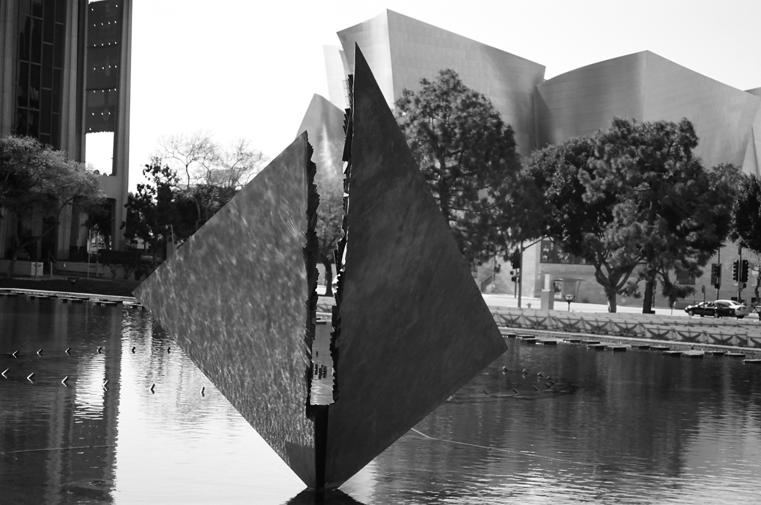 Sculpture Next To DWP Building, Disney Hall In Background