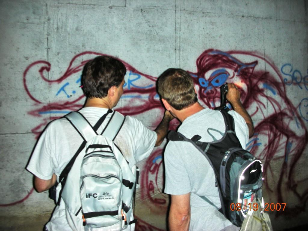 Me On Left, Examing Demon Grafitti, Photo By Grant