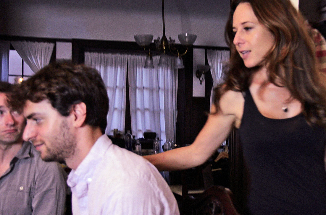 """E"" (Miriam Korn) showing interest in Thomas (Josh Breslow) while Marcus (Matt Mercer)"